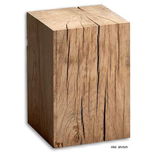 Holzklotz Massiv XXL Auswahl Holzart/Größe Linde Eiche Vollholz Hocker Dekosäule Holzblock Holzsäule Beistelltisch (Eiche 42x30x30cm)