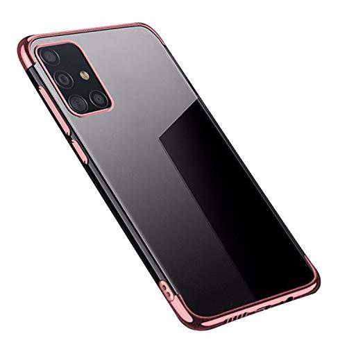 Galaxy A51 5G SC-54A/SCG07 クリアケース/カバー シンプル 耐衝撃 TPU ソフトケース サムスン ギャラクシーA51 5G 透明ソフトカバー おしゃれ スマートフォン/スマフォ/スマホケース/カバー(ローズゴールド)