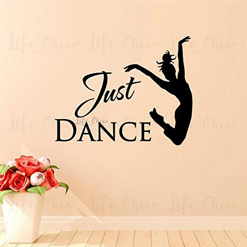 Just Dance Girl Wandtattoo Vinyl Dancing Studio Dekoration Tänzerin Silhouette Wandkunst Aufkleber Girls Room Vinyl Poster Größe: 57x45cm