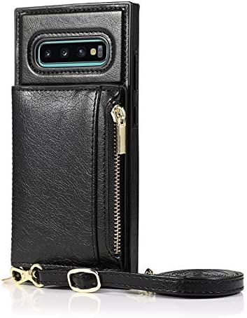 Happy-L Case for Samsung Galaxy S10E, Zipper Wallet Case with Credit Card Holder/Crossbody Long Lanyard, Shockproof Leather TPU Case Cover (Color : Black)