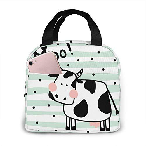 Bolsa de almuerzo con diseño de vaca, reutilizable, aislada para niños, niñas, hombres y mujeres, caja para el almuerzo, bolsa para alimentos, para trabajo, viajes, picnic