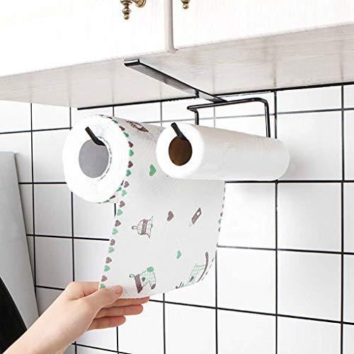 HINK-Home Towel Holder, Accessories Shelf Under Cabinet Paper Roll Rack Towel Holder Tissue Hanger, Kitchen,Dining & Bar Big Sales Black