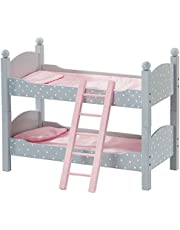 Olivia's Little World - Polka Dots Princess 18-inch Doll Double Bunk Bed - Stackable Wooden Bunk Bed and Bedding for Dolls, fits American Girl, Our Generation - Gray & Pink