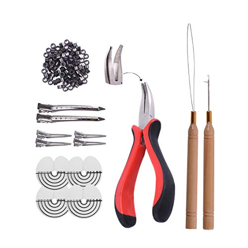 Kit de herramientas de extensión de cabello 1pcs Alicates de punta curva + 200pcs Anillos para el cabello de silicona Micro Links Beads + 2pcs Agujas para tirar del cabello(1# negro)