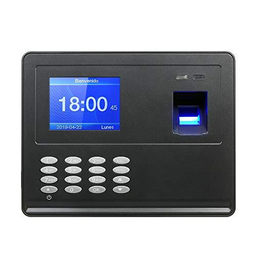 Decdeal Máquina Biométrica de Asistencia de Huellas Dactilares, 2.8 TFT LCD Pantalla USB Reloj de Hora Registro de Empleado, Reconocimiento de Huellas y Contraseñas, Español y Portugués