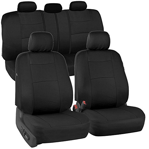 BDK OS309 Solid Black PolyPro Car Seat Covers, Full Set – Front and Rear Split Bench Protection,...