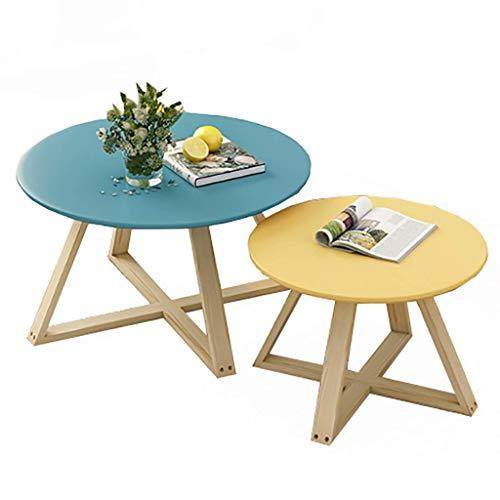 AOIWE - Mesa de centro redonda con incrustaciones de madera, juego de mesa de café estilo japonés, mesa auxiliar, para salón, dormitorio, balcón, 9 colores (color: H)