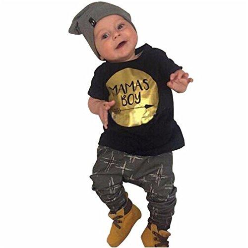 Sannysis Kleidung Junge, Jungen Kleidung 1Set T-Shirt Tops+Pants Outfits (schwarz, 80)