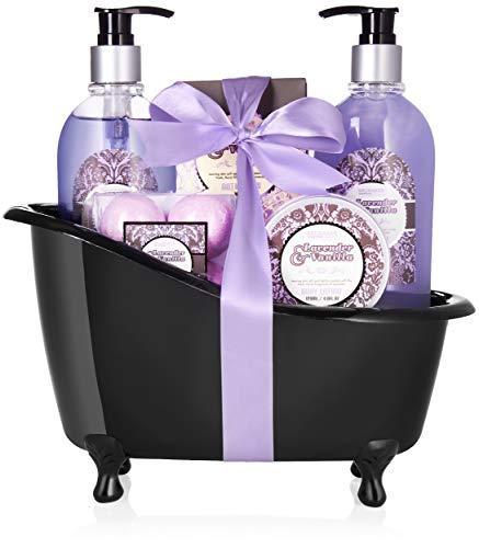 BRUBAKER Cosmetics Bade-Geschenkset Lavendel Vanille mit Deko Badewanne schwarz 9-teilig