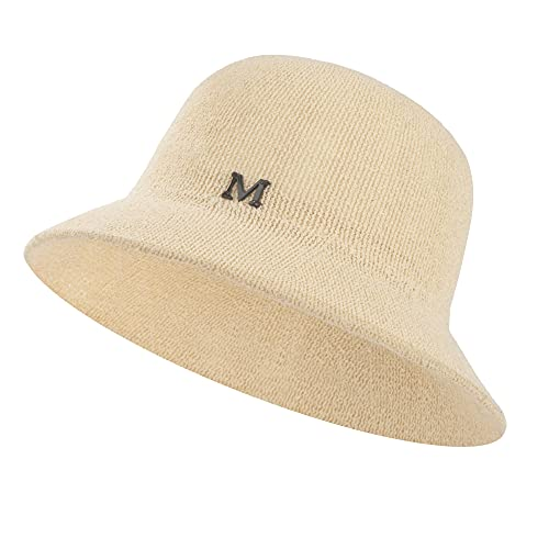 HOLEMZ Cappello Pescatore Donne Pieghevole Cappelli da Sole Traspirante Cappellini di Paglia per L'Estate in Spiaggia all'aperto o in Vacanza 56-58cm Beige