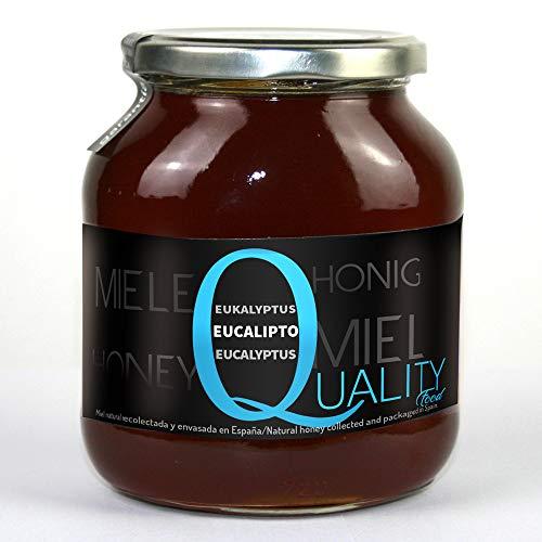 Miel pura de abeja 100%. Miel cruda de Eucalipto. 1 Kg. Producida en España. Sin pasteurizar ni calentar. Artesana de alta calidad. Tarro de cristal. Gran variedad de exquisitos sabores.