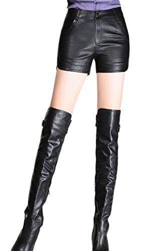 La Mujer Casual Pantalones Cortos De Cuero De La PU Elastico Solido Elegante Plus Size