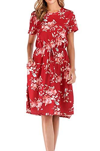 Yidarton Damen Sommer Kleid Kurzarm Blumendruck Patchwork Casual Plissee Midikleid mit Taschen, Weinrot3, XXL