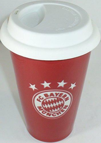 gläser.de Bayern München compatibele beker met deksel rood logo + sticker München Forever, cup, mok, koffiekopje, kopje, koffiekopje, koffiebeker, drinkbeker