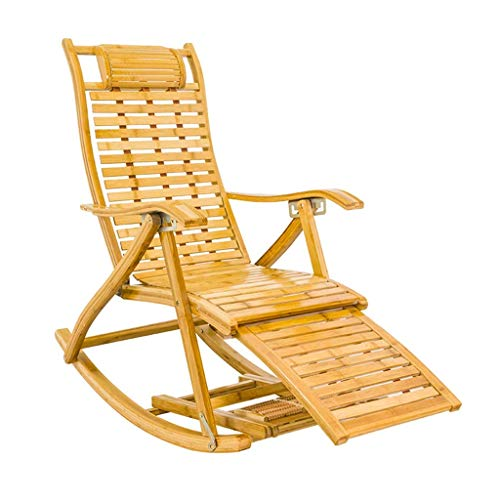 SGSG Folding Bamboo Recliner Rocking Chair,5 Positions Adjustable With Extended Footrest Massage Board Portable Garden Sun Loungers