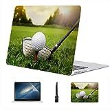 Compatible con Macbook Air 11'13' Pro 15'16' Bola de Palo de Golf Hierba Estuche rígido de plástico para computadora portátil Cubierta Dura Accesorios de protección con Alfombrilla de ratón