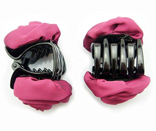 HAND Main élégant élégant Rose en Satin Bulldog Barrettes Cheveux 70 mm x 50 mm Lot de 2, différentes couleurs bordeaux