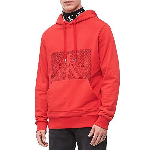 Calvin Klein Placed Monogram Racing - Sudadera para Hombre, Color Rojo