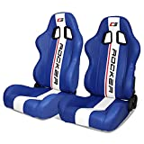 IKON MOTORSPORTS, Universal Racing Seats Pair with Dual Sliders, Blue PU Leather White Stripe Reclinable Left Right