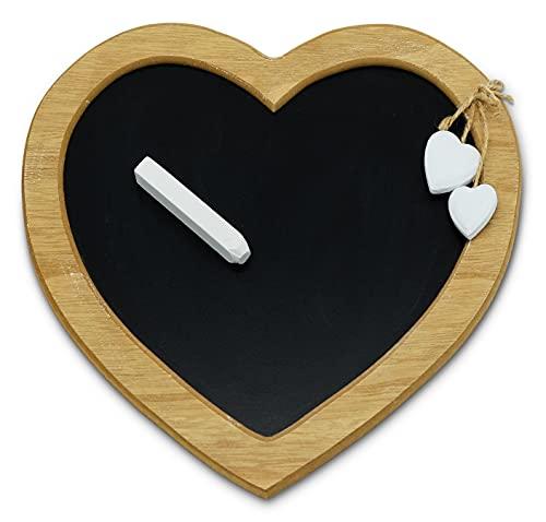 Stilvolle Tafel mit Kreide als Herz im Vintage Stil - Dekotafel Liebe zum Aufhängen - dekorative Kreidetafel im Landhaus Stil - Schiefertafel Größe 31 x 28 cm