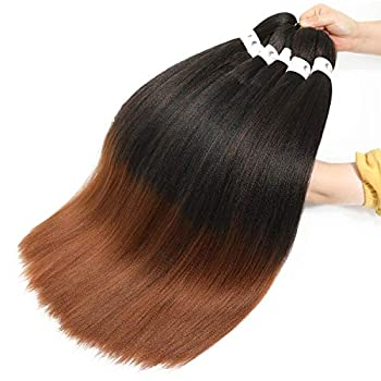 MFB Ombre Pre stretched Braiding Hair Extension 20 Inch 8 Packs 1B/30 Itch Free Ombre Synthetic Corchet Twist Braids Yaki Texture Tangle Free Hot Water Setting Off Black Medium Auburn 20inch T1B/30