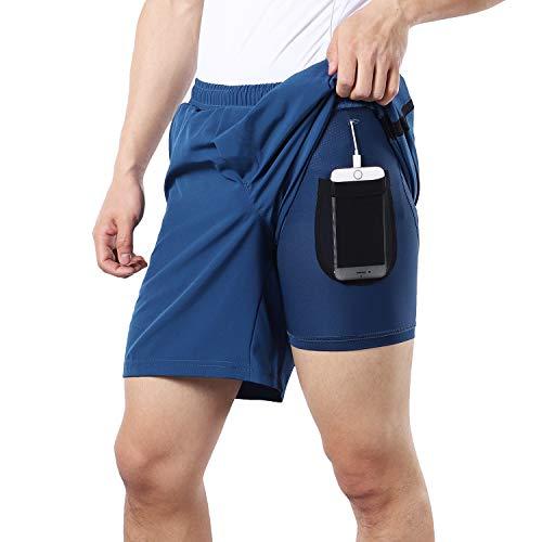 BERGRISAR Herren Lauf-Shorts, 17,8 cm, 2-in-1, mit Handytasche, BG600, Blau, Größe XL