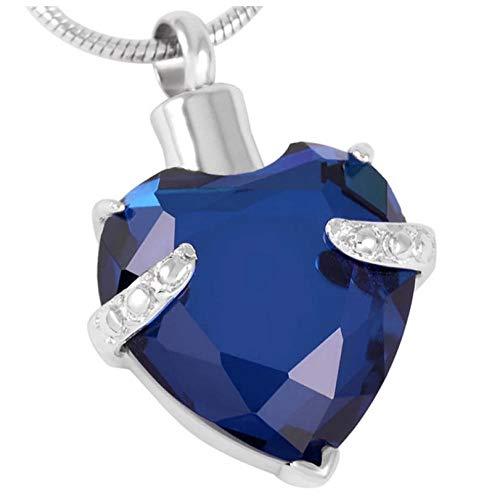Wxcvz Cremación De Acero Inoxidable Collar con Colgante Conmemorativo De Color con Corazón Grande, Cristal Y Diamantes De Imitación, Joyería De Cremación, Plateado