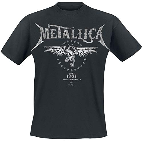 Metallica Biker Hombre Camiseta Negro M, 100% algodón, Regular