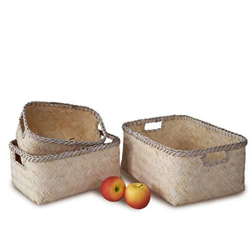 Juego de 3 cestas de almacenamiento de bambú de nido y cesta decorativa hecha a mano para el hogar, sala de estar, baño, vestidor de bebé, guardería, organización de juguetes para niños (blancos)