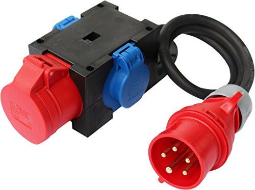 CEE Adapter Stromverteiler CEE 16A 400V - 2 x 230V und 1 x 16A Kraftstrom Baustrom Verteiler mit Zuleitung