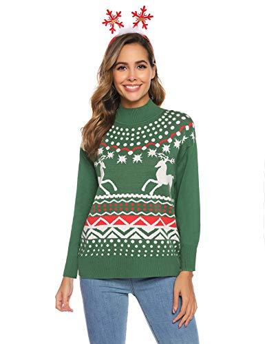 Aibrou Jersey Suéter de Navidad Mujer,Jerséis de Punto Ciervo Cuello Redondo Suelto Linda y Moda