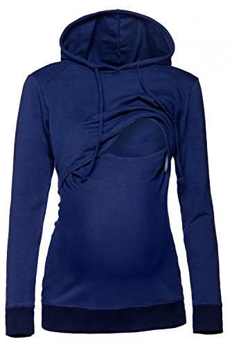 HAPPY MAMA. Damen Kapuzenpullover Stillzeit Top Zweilagiges Sweatshirt. 272p (Marine, 44, 2XL)