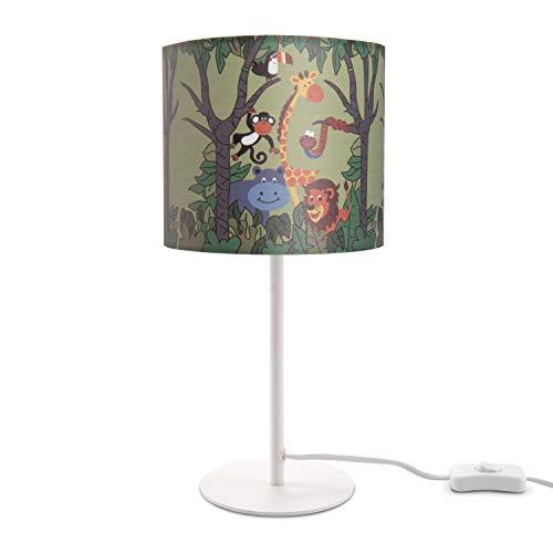 Kinderlampe LED Tischlampe Kinderzimmer, Dschungel Tier-Motiv, Tischleuchte E14, Lampenfuß:Weiß, Lampenschirm:Grün (Ø18 cm)