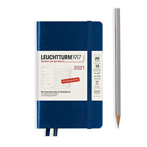 LEUCHTTURM1917 361838 Wochenkalender & Notizbuch 2021 Hardcover Pocket (A6), 12 Monate, Navy, Deutsch
