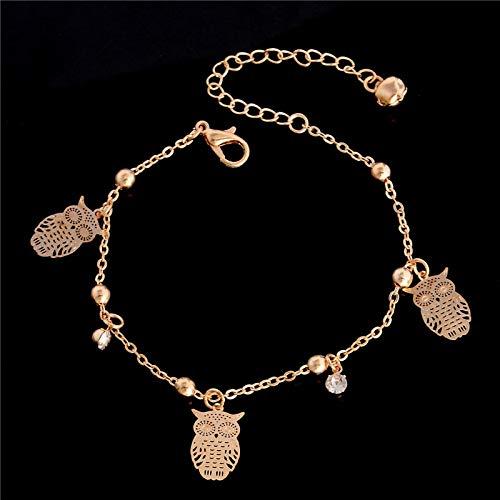 yqs Pulsera Pulsera de Tobillera de Encanto Mariposa para Mujer Pulsera de Color Dorado en una Pierna pie de Moda Chian Tobillo Amor Joyas Owl