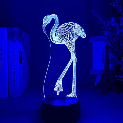 DAJIE Lámpara de noche de acrílico con diseño de flamenco, cambia de color, luz nocturna para decoración de dormitorio, niños, bebés, luz nocturna LED