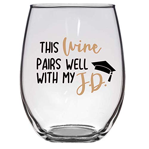 Este vino se combina bien con mi copa de vino JD, 11 oz, copa de vino de abogado, regalo de graduación de la escuela de derecho, escuela de derecho