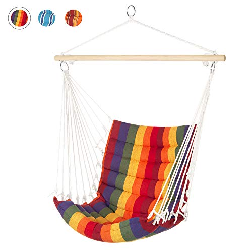 Best Choice Products Indoor Outdoor Padded Cotton Hammock Hanging Chair w/ 40in Spreader Bar - Multicolor