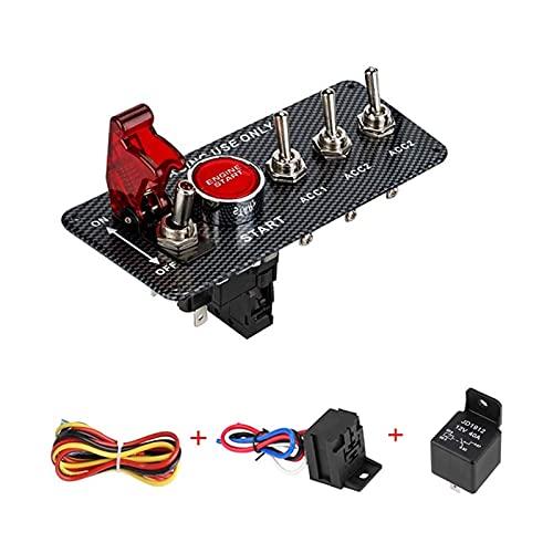 JIAQING Coche de la Fibra de Carbono Coche de Encendido 12V Panel de Encendido Rally Motor Start Trojo LED Interruptor de Palanca con Cubierta e indicador Light (Color : Kit 4)