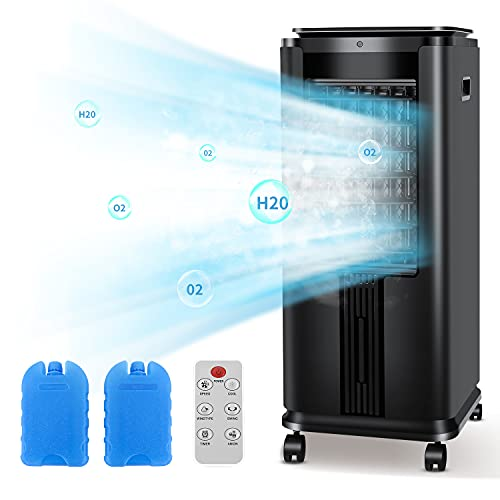 R.W.FLAME Portable Air Cooler, Portable air conditioner 30IN Tower Fan, Built-in Ionizer,12H Timer,40°Oscillation,3 Modes&Speeds with Ice Boxes for Home Office and Garage,Black