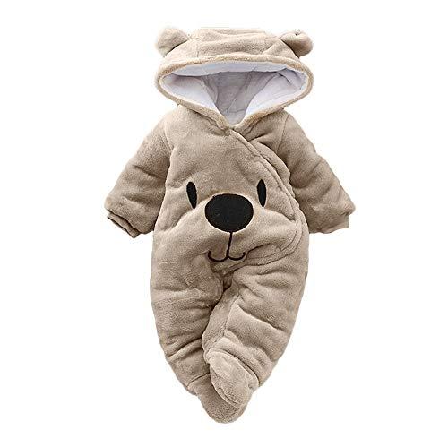 Baby Cartoon Bear Snowsuit Newborn Baby Girl Boy Velvet Hooded Jumpsuit Romper Clothes Winter Snow Wear