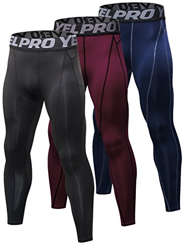 Yuerlian 3 confezione da uomo a compressione leggings Cool Dry sport pantaloni da corsa Gym collant, Uomo, Black + Red + D Blue, UK L