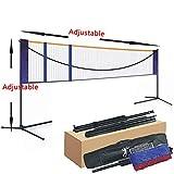 APOE Filet Portable de Badminton Volley-Ball Tennis Réglable Largeur et Hauteur en Hauteur Standard pour Les Sports Intérieurs ou Extérieurs Légère Pliable 5.18m/6.1m