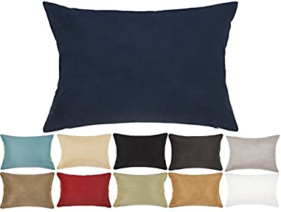 DreamHome - Solid Faux Suede Piping Edge Pillow Cover/Sham
