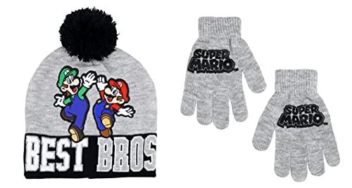 Nintendo Boy's Super Mario Cold Weather Hat and Glove Set, 4-7 (Grey)