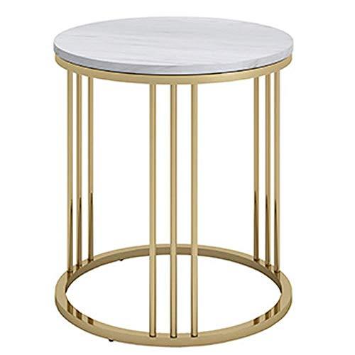 Carl Artbay Home&Selected Furniture/Round Marble Bijzettafel, moderne woonkamer, salontafel, bijzettafel, slaapkamer, nachtkastje, klein, ronde tafel, goudkleurig, 40 x 55 cm