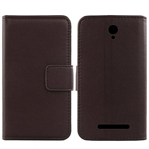 Gukas Design Echt Leder Tasche Für Archos Access 50 Color 3G Hülle Lederhülle Handyhülle Handy Flip Brieftasche mit Kartenfächer Schutz Protektiv Genuine Premium Hülle Cover Etui Skin (Dark Braun)