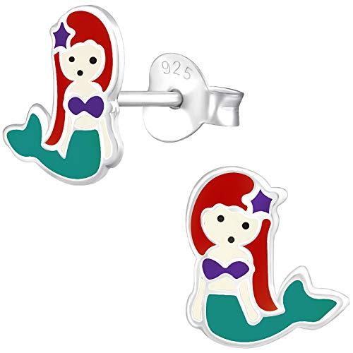 JAYARE Ohrringe Mädchen Meerjungfrau 925 Sterling Silber grün Kinder Ohrstecker