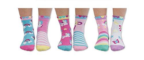 Trendaffe - Set da 6 calzini con personaggi delle favole, con unicorni