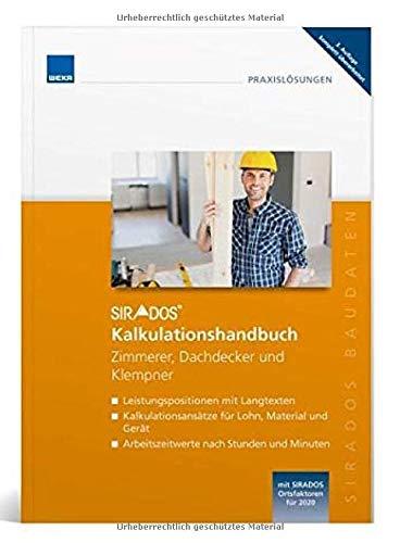 SIRADOS Kalkulationshandbuch 2020 Zimmerer, Dachdecker und Klempner